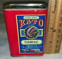 ANTIQUE KATO TURMERIC SPICE TIN MANKATO MN INDIAN CHIEF PEACE PIPE GROCERY CAN