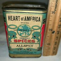 ANTIQUE HEART OF AMERICAN ALLSPICE SPICE TIN CENTERVILLE IOWA IA CAN GROCERY OLD