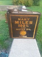 Rare Vintage Many Miles 1 Gallon Motor Oil Can Gas Station Sign