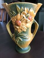 Roseville USA Yellow & Green Poeny Double Handle Flower Vase 60 -7 Vintage NICE!