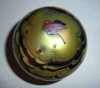 Art Glass Paperweight Bird Signed Lundberg Studios Vintage Gold Iridescent