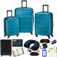 Samsonite Omni Hardside Luggage Spinner Set Caribbean Blue w Accessory Kit