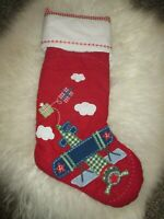 new POTTERY BARN KIDS RED QUILTED AIRPLANE CHRISTMAS Stocking no name