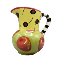 Droll Designs Winter Apple Jug Pitcher Whimsical Black Striped Cherries AS IS
