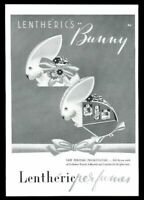 1943 Lentheric Tweed Confetti a Bientot perfume CUTE bunny rabbit box print ad