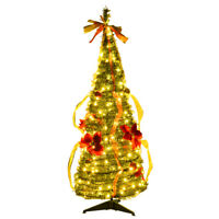 4ft Pre-Lit Christmas Tree Fully Decorated Pull Up Tree Flat-to-Fabulous w/Light