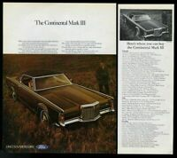 1970 Lincoln Continental Mark III car and mountain states dealer list print ad