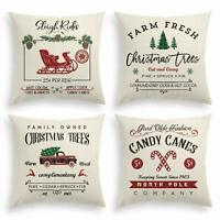 THROW PILLOW COVER Christmas 18 x 18 Inch Winter Holiday Rustic Farmhouse Case