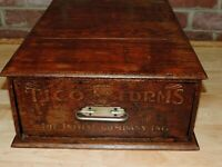ANTIQUE TICO FORMS INITIAL CO WOOD DRAWER CABINET STORE DISPLAY