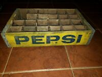 Vintage Pepsi Cola Wooden Crate Soda Pop Carrier Yellow 24 Bottle Dividers