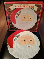 CHRISTMAS COOKIE HOLIDAY PLATTER SANTA GLAZED CERAMIC COLOR 14 INCH BEAUTIFUL!
