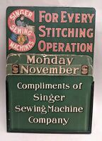 Antique vtg 1890s-1910 SINGER Sewing Machine TIN SIGN Perpetual CALENDAR Passaic