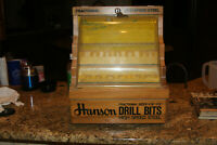 Vintage Wooden Hanson WIRE GAUGE Drill Bits Display Case w/ Key