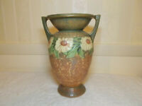 Large Vintage Roseville Dahlrose Double Handle Vase Original Label