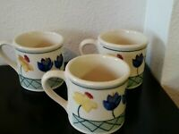 (3) 10 oz. Large Hartstone Floral Pottery Mugs dated 1982