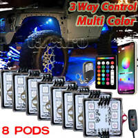 8 Pod Neon LED Rock Light bluetooth Under Glow Body for Offroad Car Truck Boat