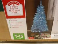 Teal Blue 4 ft Tree Pre Lit w 100 Clear Lites and Stand Easter C047