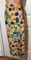 WRAP SKIRT Size 6 8 Lightweight in Bold Yellow with Purple Green Blue Flowers