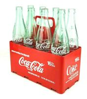 Coca Cola Plastic Carrier With 8 Pint Glass Bottles Vintage