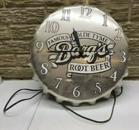 1960's Barq's Root Beer Aluminum Bottle Cap Shaped Electric Clock NOT Working