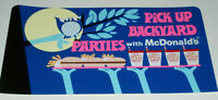 1960's McDonald's Store sign for BACKYARD PARTIES fast food restaurant vintage