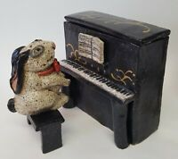 RABBIT PLAYING PIANO FOLK ART CLAY POTTERY FIGURINE SCULPTURE OOAK DEE BURROW