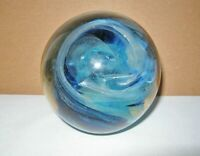 SUBLIME Dreamy Blues SWIRLING Movement SIGNED Glass PAPERWEIGHT Opulent PRESENCE