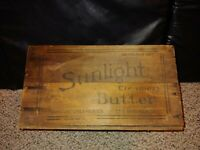 Vintage 30s/40s Sunlight Creamery Butter Wood Crate,Chicago Illinois Creameries