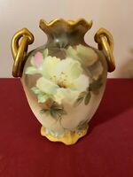 Antique Nippon Double Handles Hand-Painted Footed Urn Vase 19th Century