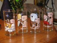 1982 VINTAGE 4  E.T. THE MOVIE PIZZA HUT ADVERTISING CHARACTER GLASS ~ FREE SHIP