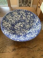 STOVIGLIERIE Blue Large Pottery made in Italy Round Serving Pasta Bowl Vtg