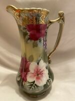 """Vintage Nippon Hand Painted Floral Pitcher/Creamer 6-1/4"""" Tall, Gold Trim"""