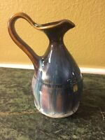 Bill Campbell Art Pottery Small Pitcher Drip  Blue and Brown 5