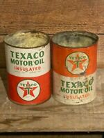 2 Vintage TEXACO Insulated Motor Oil Metal 1 Quart GAS & OIL Cans