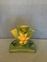 Vintage Roseville Art Pottery Clematis Blue Triple Vase with Double Handles.