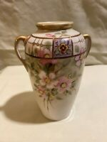 Nippon Hand Painted 6 Inch Floral Urn Style / Vase