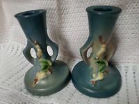 Pair of 1940's Roseville Pottery Blue Snowberry Candlestick Candle Holders #ICS2