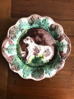 Antique Majolica Dog And House Platter (Arsenal Potteries)