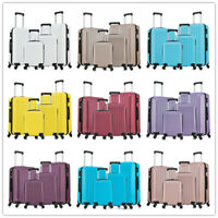 4PCS Hardside Luggage Spinner Wheels Carry on w Lock Suitcase ABS Travel Case