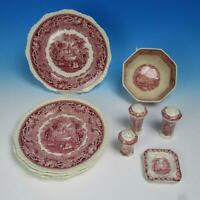 Masons Vista Ironstone Red Transferware Bowl, 5 Dinner Plates, Ashtray, Shakers