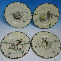 French Antique Creil et Montereau Hand Decorated by Richard Froment 4 Plates