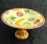 SIGNED DROLL DESIGNS LARGE CENTERPIECE PEDESTAL FOOTED FRUIT BOWL HAND PAINTED