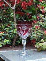 Bohemian Ruby Red Cut to Clear Crystal Wine Glass