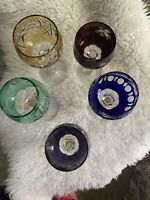 5 Multi Color, Chek / Bohemian Cut To Clear Crystal Cordial Glasses.  Beautiful