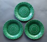 3 Wedgwood 1880s Sunflower in Basket Green Majolica 8 5/8