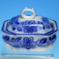 Flow Blue Ironstone - Two Piece Soap Dish with Lid