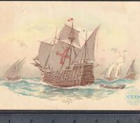 Santa Maria Ship 1892 Columbian Exposition Naval Review Clarks Sewing Trade Card