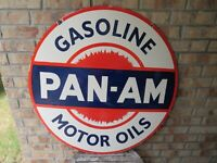 Vintage Porcelain Pan-Am Motor Oils Double Sided Sign 30 Inches
