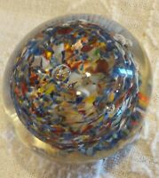 Vintage 1970 Roy-Al Art Glass Color Swirl Paperweight