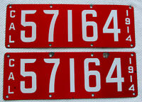 1914 California Porcelain License Plate Pair #57146 (Historical Significance)